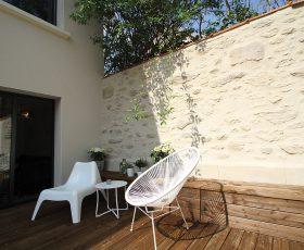 Decopierre extérieur sur mur de terrasse à Reims
